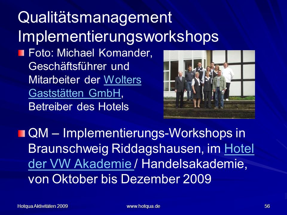 Qualitätsmanagement Implementierungsworkshops