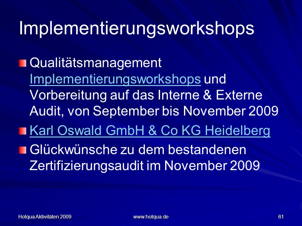 Implementierungsworkshops