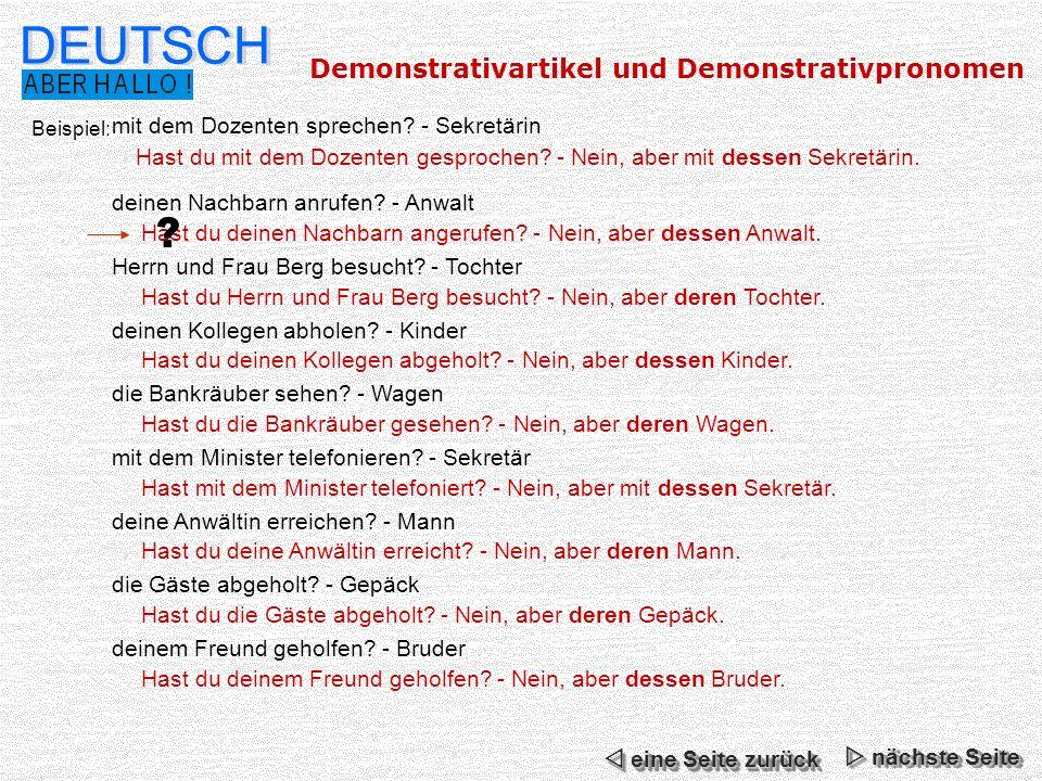 DEUTSCH Demonstrativartikel und Demonstrativpronomen