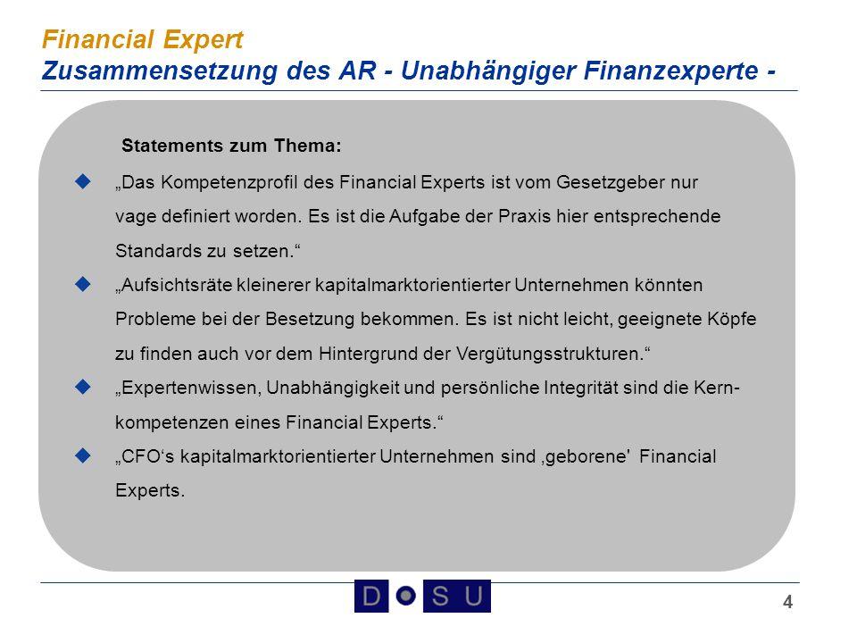 Financial Expert Zusammensetzung des AR - Unabhängiger Finanzexperte -