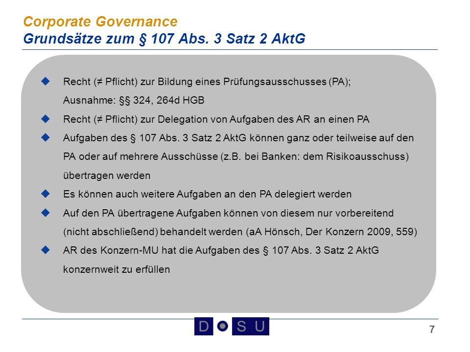 Corporate Governance Grundsätze zum § 107 Abs. 3 Satz 2 AktG