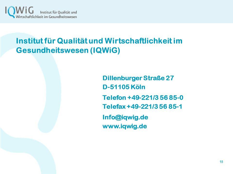 Institut für Qualität und Wirtschaftlichkeit im Gesundheitswesen (IQWiG)