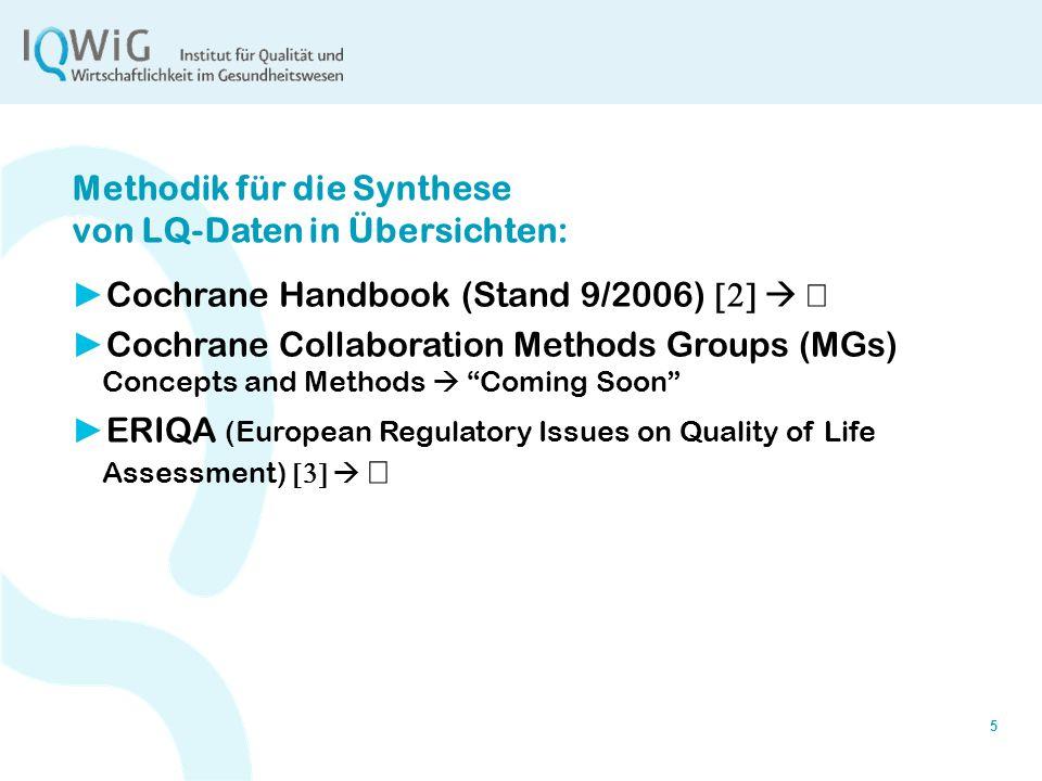 Methodik für die Synthese von LQ-Daten in Übersichten: