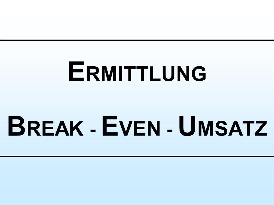 ERMITTLUNG BREAK - EVEN - UMSATZ