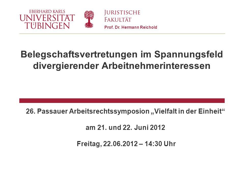 """26. Passauer Arbeitsrechtssymposion """"Vielfalt in der Einheit"""