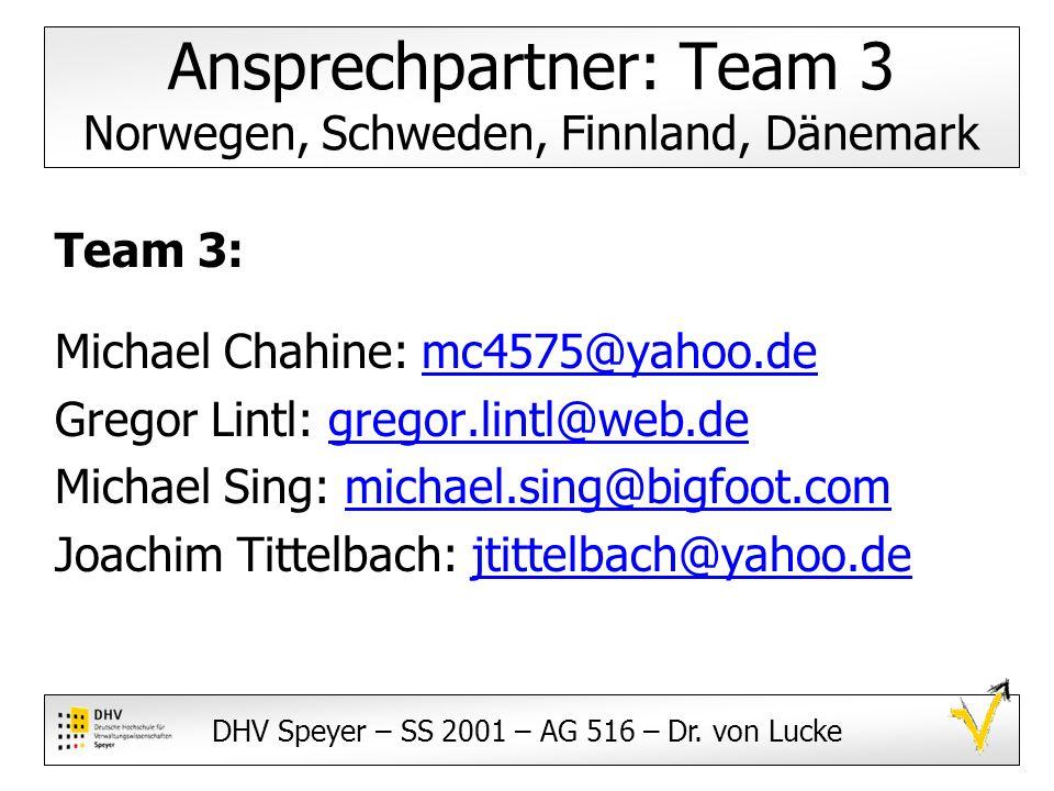 Ansprechpartner: Team 3 Norwegen, Schweden, Finnland, Dänemark