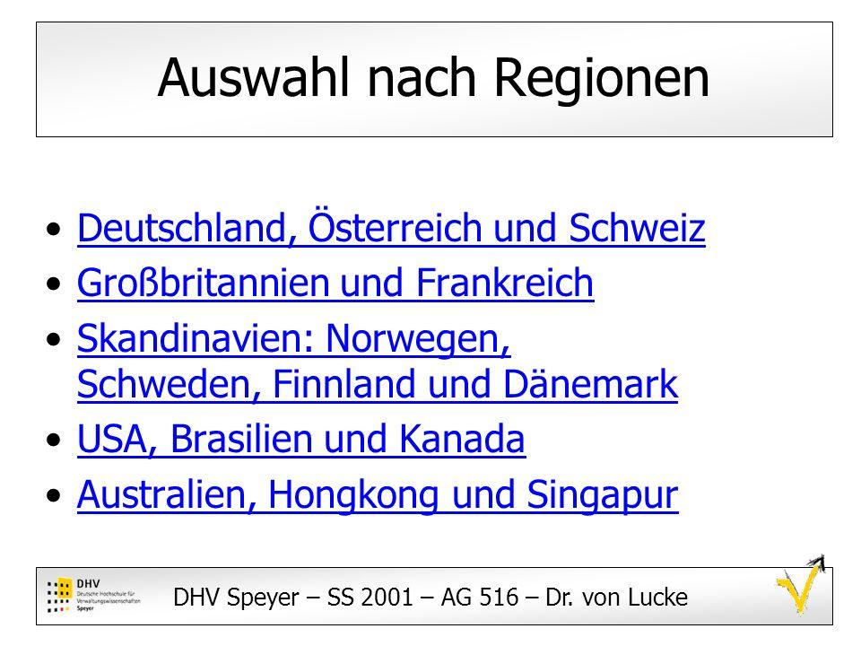 Auswahl nach Regionen Deutschland, Österreich und Schweiz