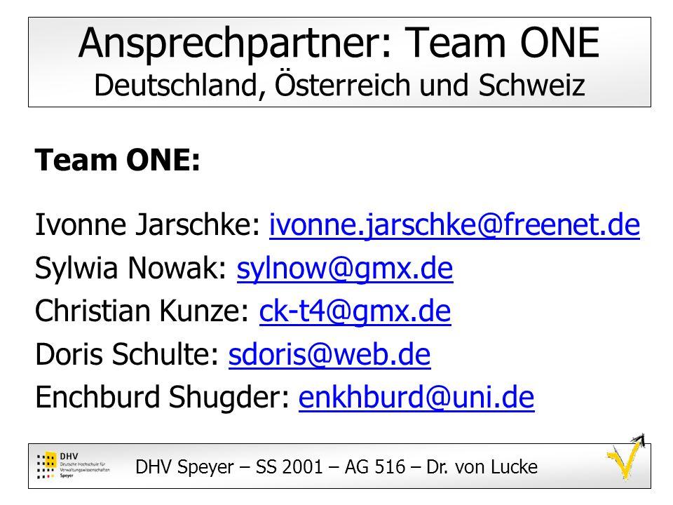 Ansprechpartner: Team ONE Deutschland, Österreich und Schweiz