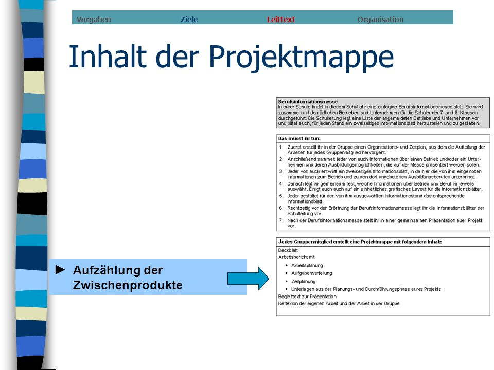 Inhalt der Projektmappe