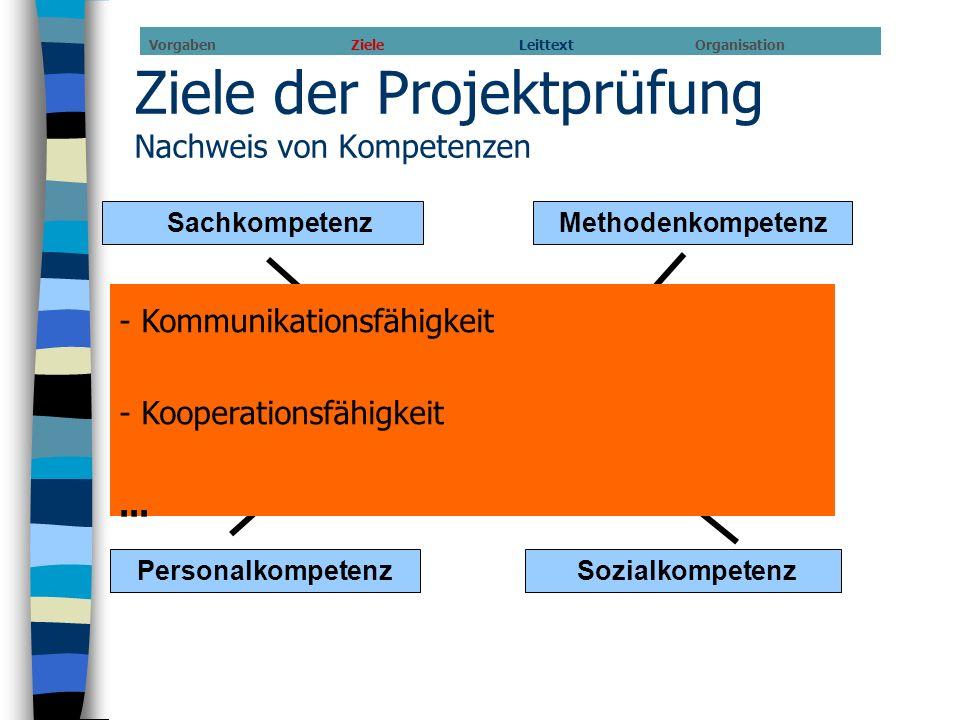 Ziele der Projektprüfung Nachweis von Kompetenzen