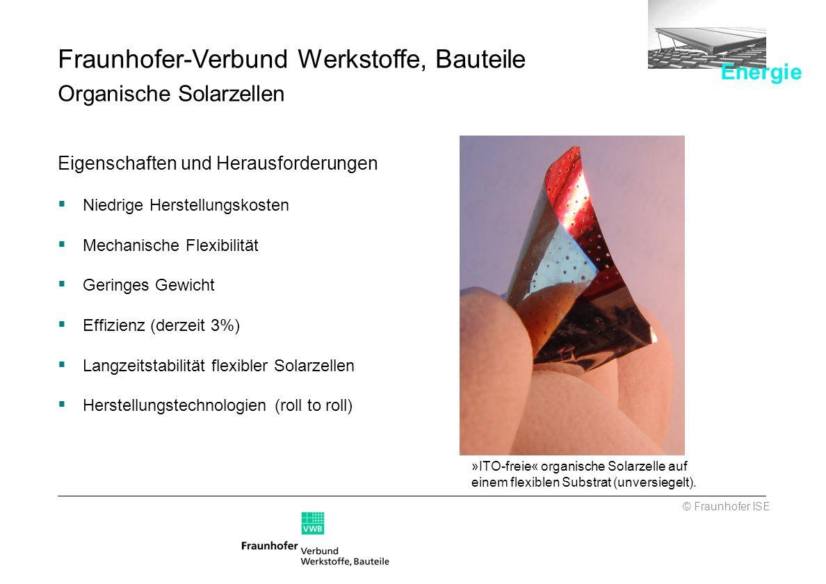 Fraunhofer-Verbund Werkstoffe, Bauteile Organische Solarzellen