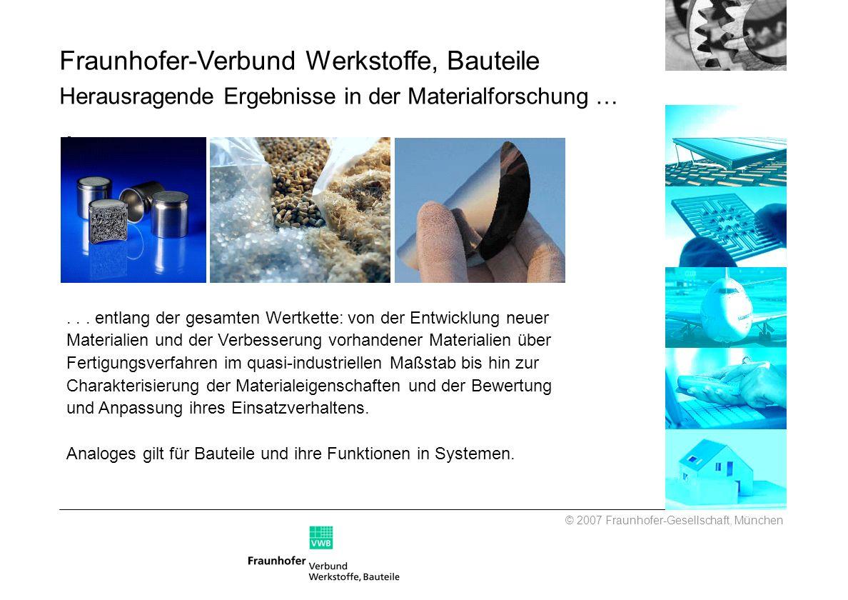 Fraunhofer-Verbund Werkstoffe, Bauteile Herausragende Ergebnisse in der Materialforschung …