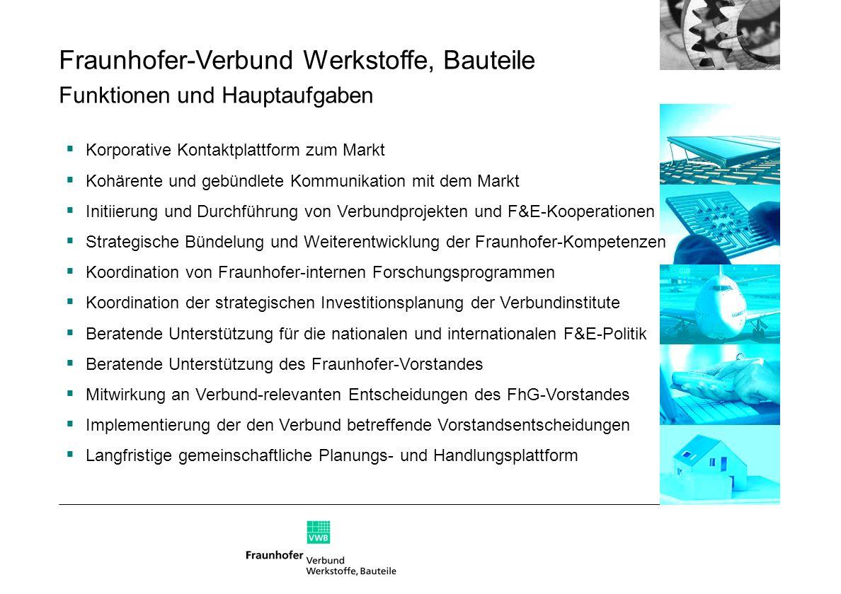 Fraunhofer-Verbund Werkstoffe, Bauteile Funktionen und Hauptaufgaben