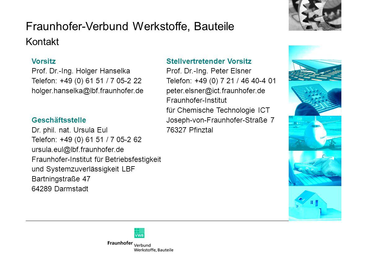 Fraunhofer-Verbund Werkstoffe, Bauteile Kontakt