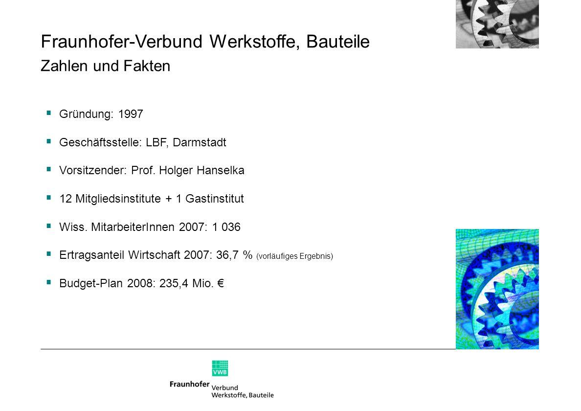 Fraunhofer-Verbund Werkstoffe, Bauteile Zahlen und Fakten