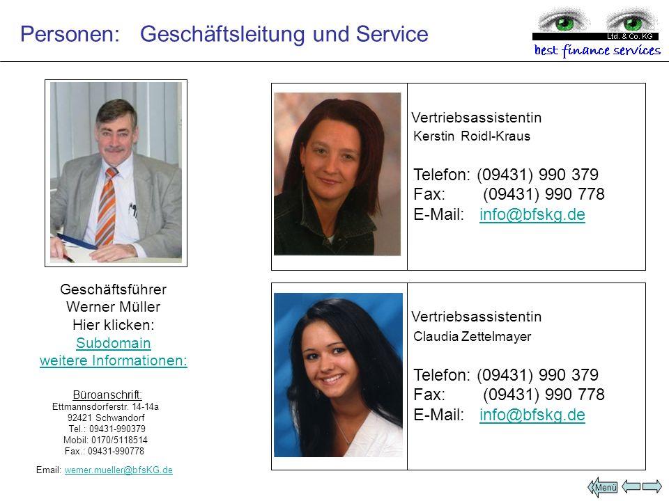 Personen: Geschäftsleitung und Service