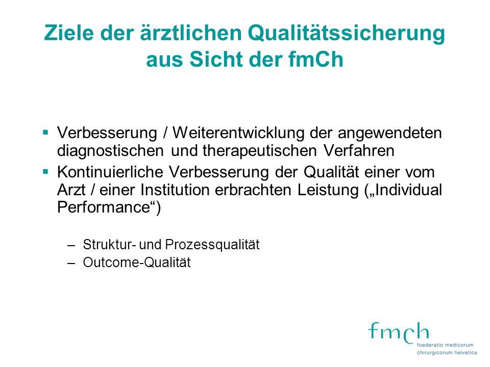 Ziele der ärztlichen Qualitätssicherung aus Sicht der fmCh