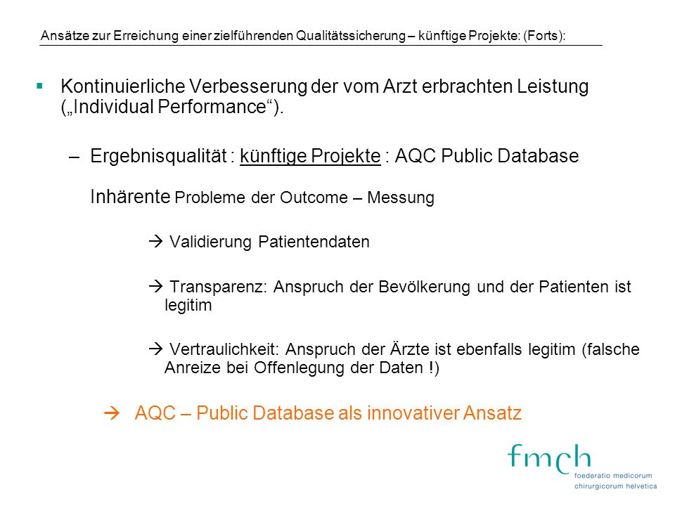 AQC – Public Database als innovativer Ansatz