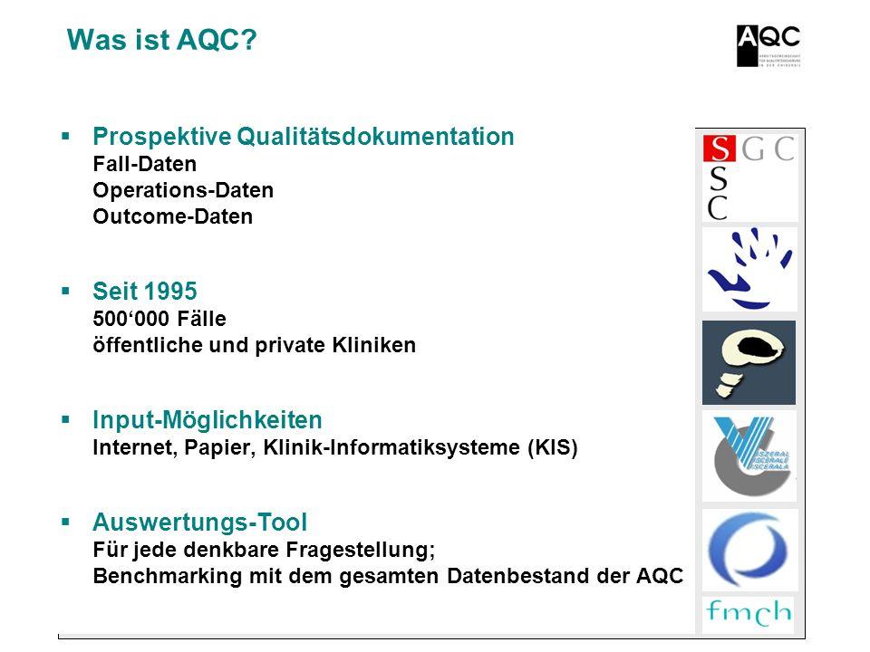 Was ist AQC Prospektive Qualitätsdokumentation Fall-Daten Operations-Daten Outcome-Daten. Seit 1995 500'000 Fälle öffentliche und private Kliniken.