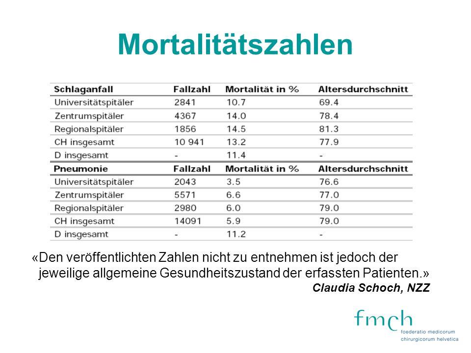 Mortalitätszahlen «Den veröffentlichten Zahlen nicht zu entnehmen ist jedoch der. jeweilige allgemeine Gesundheitszustand der erfassten Patienten.»