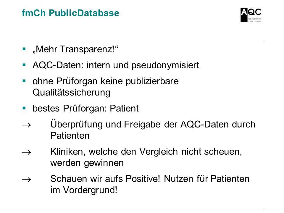 """fmCh PublicDatabase """"Mehr Transparenz! AQC-Daten: intern und pseudonymisiert. ohne Prüforgan keine publizierbare Qualitätssicherung."""