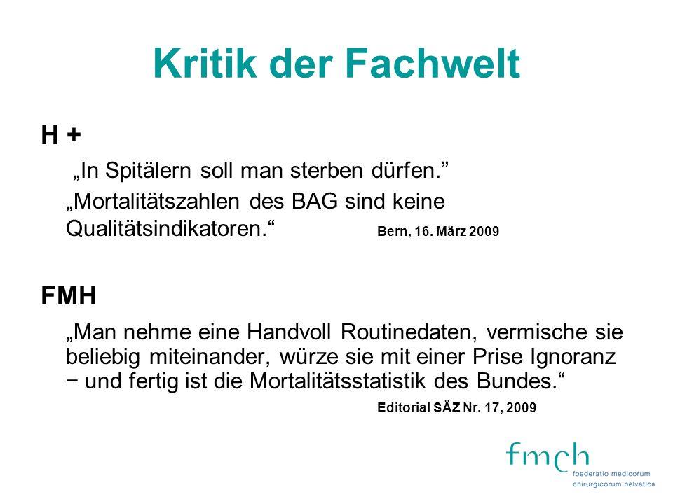 """Kritik der Fachwelt H + """"In Spitälern soll man sterben dürfen. FMH"""