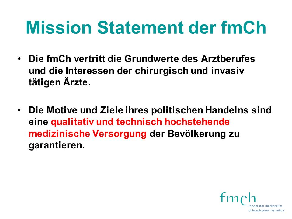 Mission Statement der fmCh