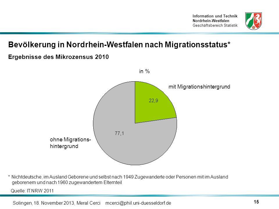 Bevölkerung in Nordrhein-Westfalen nach Migrationsstatus*