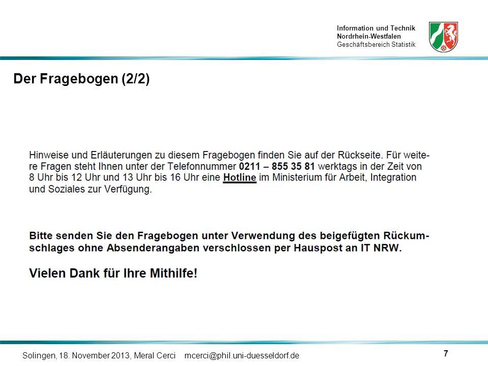 Der Fragebogen (2/2) Solingen, 18. November 2013, Meral Cerci mcerci@phil.uni-duesseldorf.de