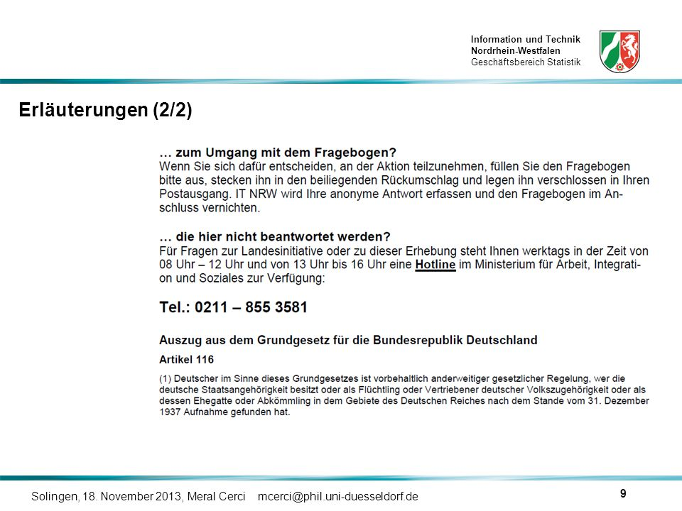 Erläuterungen (2/2) Solingen, 18. November 2013, Meral Cerci mcerci@phil.uni-duesseldorf.de