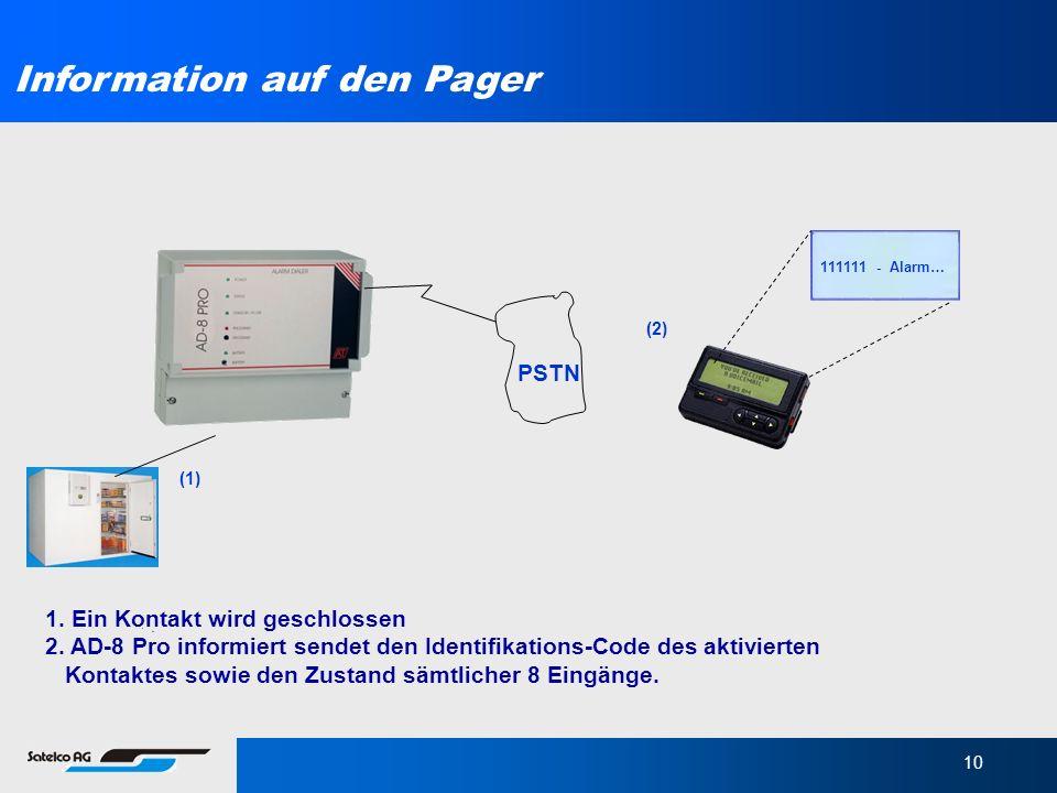 Information auf den Pager