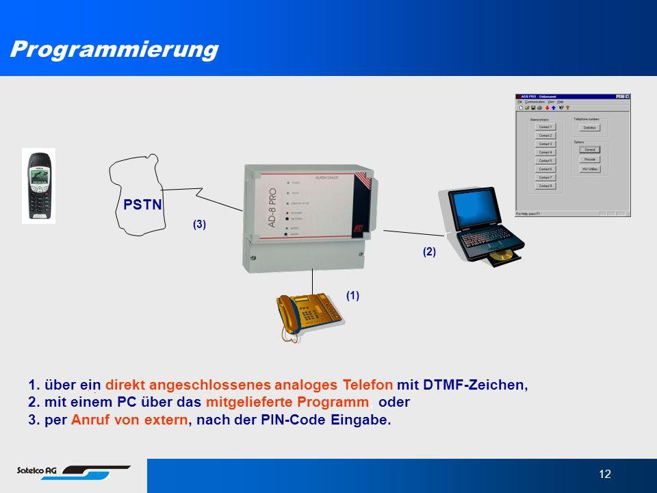 Programmierung PSTN. (3) (2) (1) 1. über ein direkt angeschlossenes analoges Telefon mit DTMF-Zeichen,