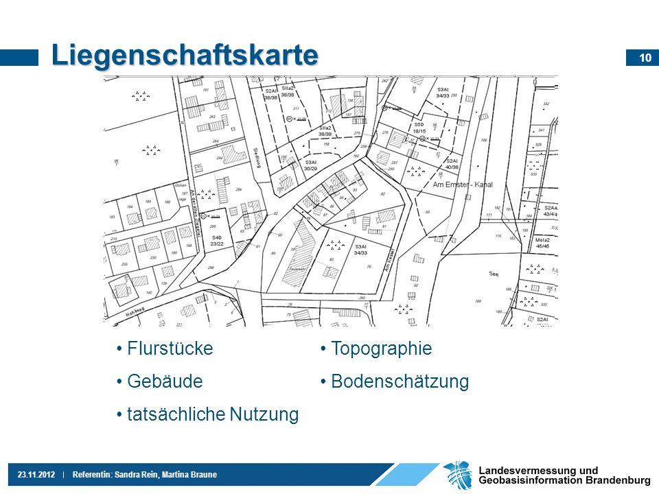Liegenschaftskarte Flurstücke Gebäude tatsächliche Nutzung Topographie