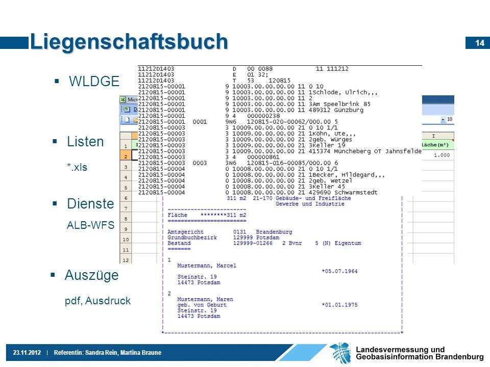 Liegenschaftsbuch WLDGE Listen *.xls Dienste Auszüge pdf, Ausdruck