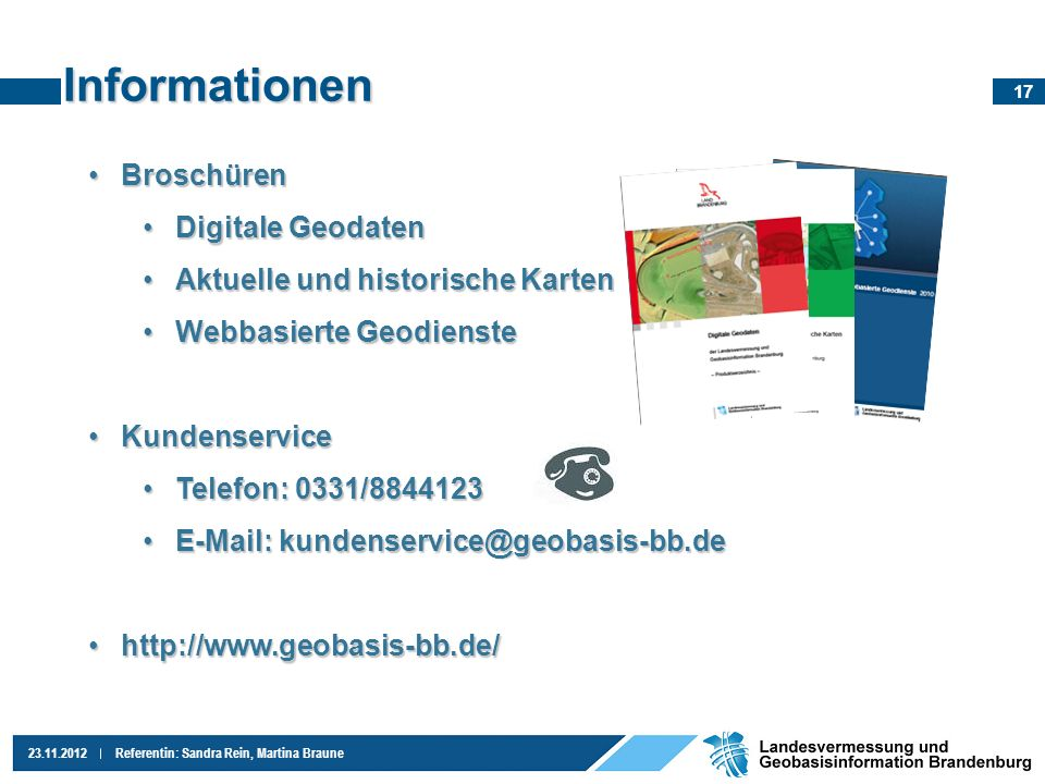 Informationen Broschüren Digitale Geodaten