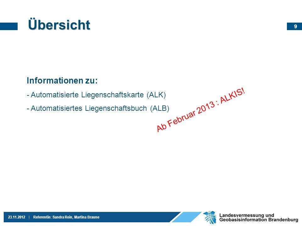 Übersicht Informationen zu: Ab Februar 2013 : ALKIS!