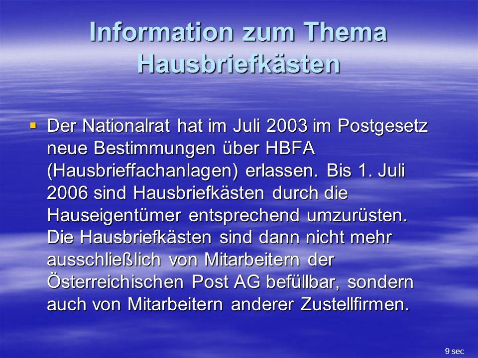 Information zum Thema Hausbriefkästen