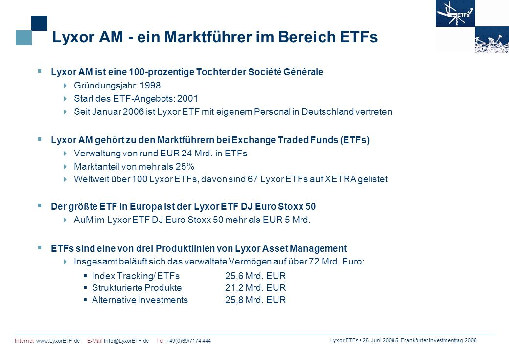 Lyxor AM - ein Marktführer im Bereich ETFs