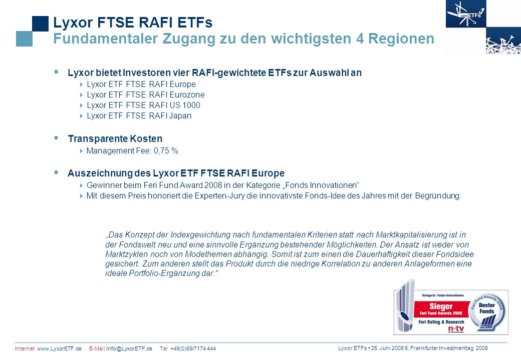 Lyxor FTSE RAFI ETFs Fundamentaler Zugang zu den wichtigsten 4 Regionen