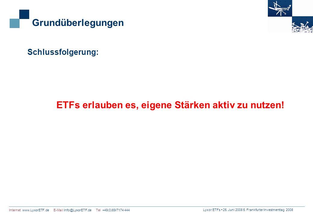 ETFs erlauben es, eigene Stärken aktiv zu nutzen!