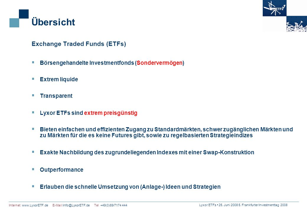Übersicht Exchange Traded Funds (ETFs)
