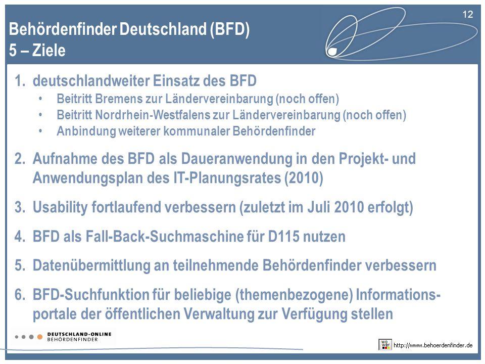 Behördenfinder Deutschland (BFD) 5 – Ziele
