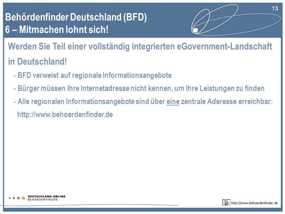 Behördenfinder Deutschland (BFD) 6 – Mitmachen lohnt sich!