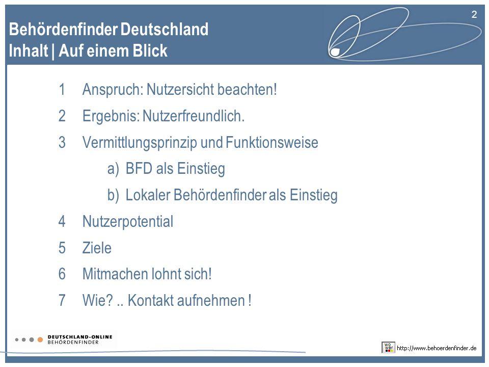 Behördenfinder Deutschland Inhalt | Auf einem Blick