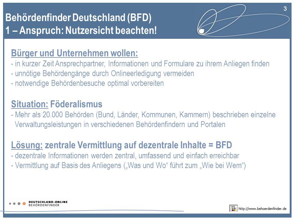 Behördenfinder Deutschland (BFD) 1 – Anspruch: Nutzersicht beachten!