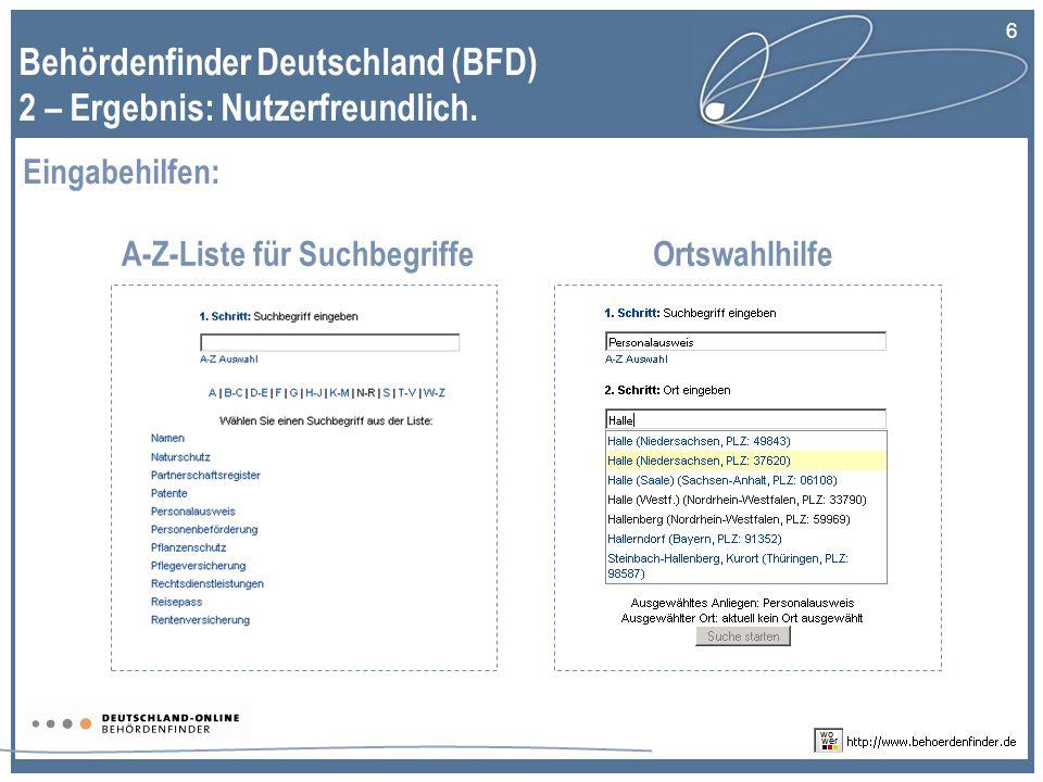 Behördenfinder Deutschland (BFD) 2 – Ergebnis: Nutzerfreundlich.