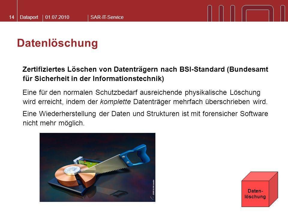 01.07.2010 Datenlöschung. Zertifiziertes Löschen von Datenträgern nach BSI-Standard (Bundesamt für Sicherheit in der Informationstechnik)