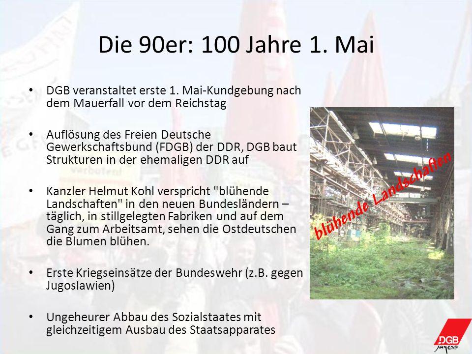 Die 90er: 100 Jahre 1. MaiDGB veranstaltet erste 1. Mai-Kundgebung nach dem Mauerfall vor dem Reichstag.