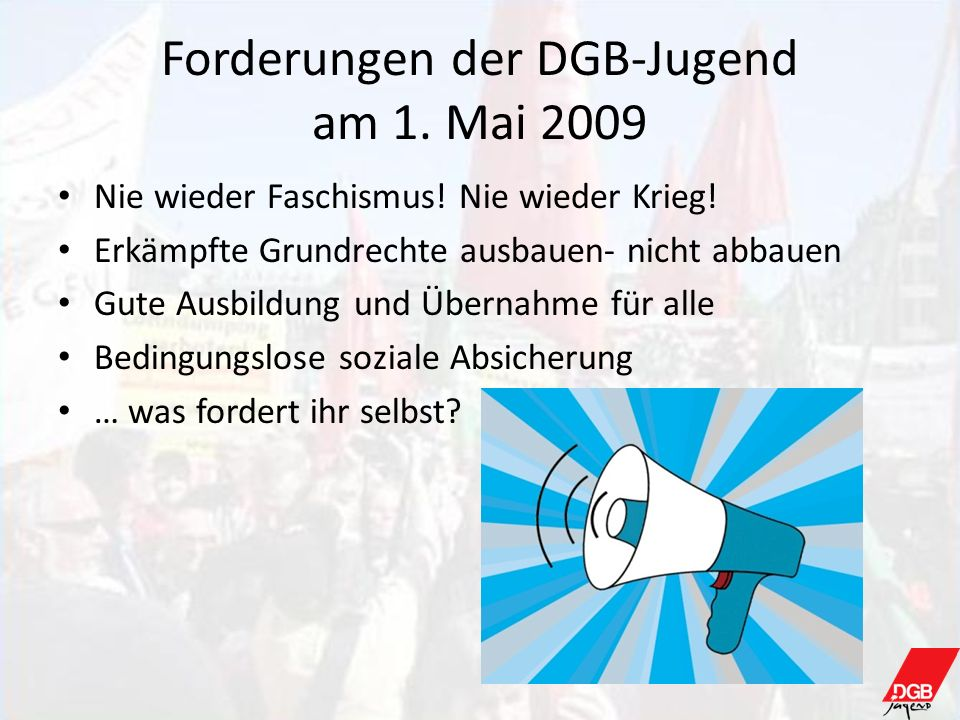 Forderungen der DGB-Jugend am 1. Mai 2009