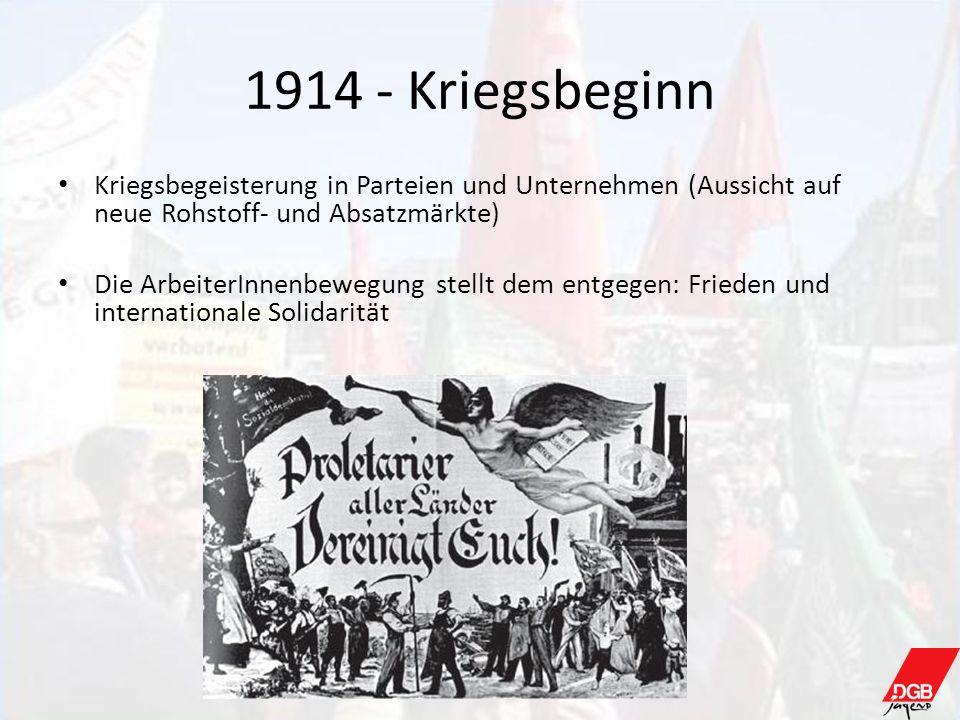 1914 - KriegsbeginnKriegsbegeisterung in Parteien und Unternehmen (Aussicht auf neue Rohstoff- und Absatzmärkte)